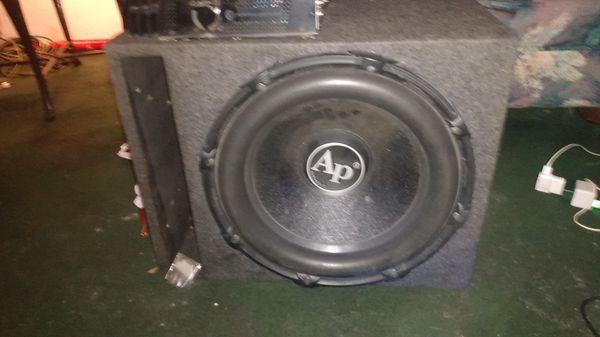 AP , audiopipe, (15) in box with a (m) Memphis car audio 12 v. 1.500 power reference amp
