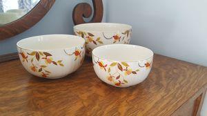 Set of 3 vintage hall superior jewel autumn leaf nesting mixing bowls for Sale in Washington Township, NJ
