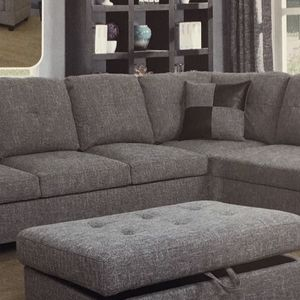 New Grey Fabric Sectional Couch With Storage Ottoman for Sale in Renton, WA