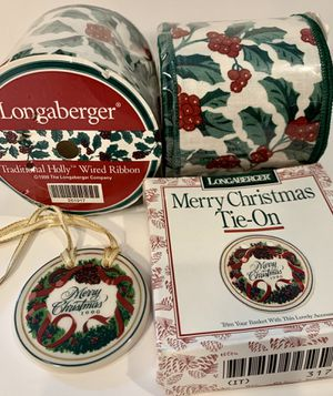 New Old Stock Longaberger Holy Xmas Wired Ribbon & Tie-on for Sale in Woodinville, WA