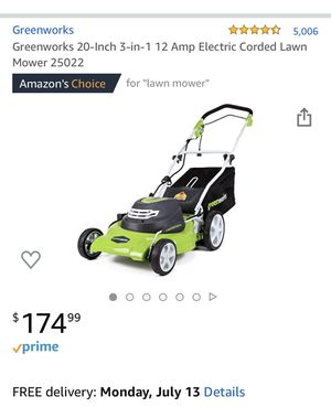 Greenworks 20-Inch 3-in-1 12 Amp Electric Corded Lawn Mower 25022 for Sale in Hillsboro, OR