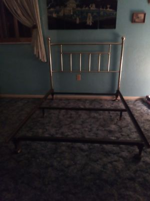 Brass headboard and frame for Sale in McKees Rocks, PA
