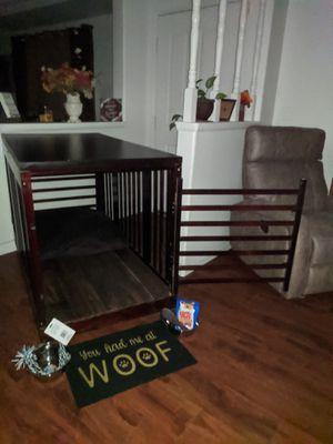 XX-Large Rolling Wood Dog Crate + EZ-Wipe Vinyl Floor + Bed + Tabletop N More! for Sale in Perris, CA