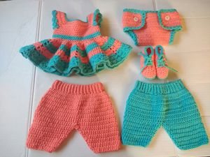 Handmade Crochet Baby Shower Set 5-Piece Baby Dress Diaper Cover Pants Shoes for Sale in San Leandro, CA