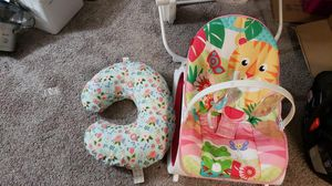 Baby items crib and mattress with cover car seat swing chair for Sale in Overland Park, KS
