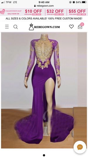 Purple and gold prom dress for Sale in Windsor, SC