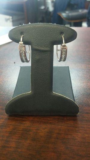 14 karat white gold diamond hoop earrings for Sale in Bakersfield, CA