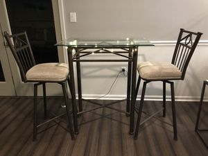 Glass table with 2 stools for Sale in Rockville, MD