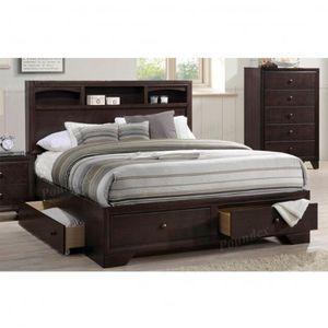 Brand new dark merlot queen storage bed frame + queen mattress for Sale in San Diego, CA