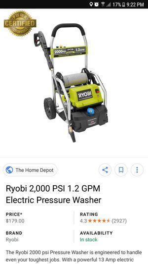 Pressure washer ryobi 2000 psi 1.2 gpm for Sale in Clifton, NJ