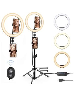 10'' Selfie Ring Light with 63inch Tripod Stand & Two Phone Holder for Make Up Live Photo Photography Vlogging Video for Sale in Lilburn, GA
