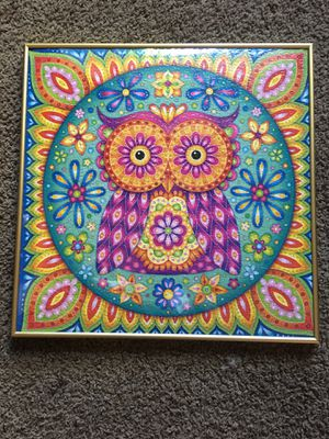 Framed owl puzzle picture for Sale in Red Bluff, CA