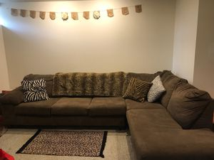 Brown microfiber sectional couch for $50 for Sale in Venetia, PA