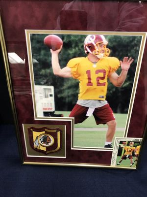 Kirk Cousins 8x10 Workout Photo from his Rookie Season with Redskins Coat of Arms Embroidered Patch and Rookie Card Double Matted in Burgundy Sued & for Sale in Fairfax, VA