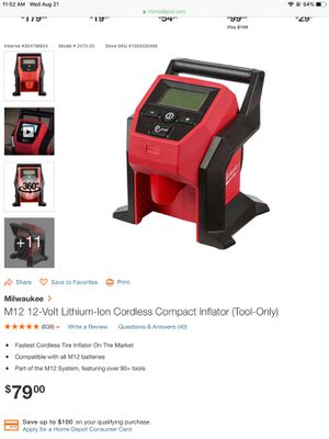 Milwaukee Compact Inflator for Sale in Kennesaw, GA
