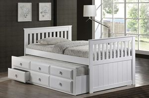 NEW White Twin Trundle with Drawers Day Bed for Sale in Ontario, CA