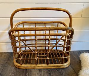 • vintage bamboo wicker rattan boho magazine rack record holder • for Sale in Issaquah, WA