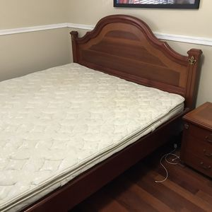 Solid wood bedroom, mattress and 2 night stand, custom made in Colombia. Size 70 inches x 74 inches for Sale in Miramar, FL
