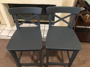 Barstools set pair 2 two bar chairs stools pub height counter chairs solid wood sturdy slate grey gray for Sale in Glendale, AZ