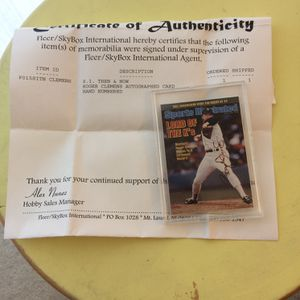 Roger Clemens Autograph 1998 Fleer / SI Baseball Card for Sale in Seattle, WA