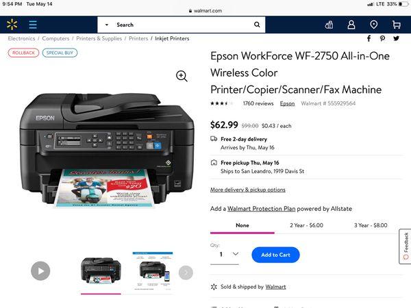 Epson WorkForce WF-2750 Wireless Printer/Scanner/Copier/Fax Machine for  Sale in Middleburg, FL - OfferUp