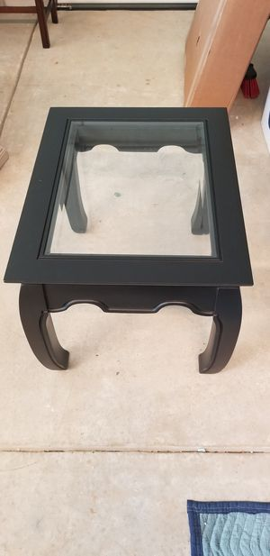 Black coffee table and end table with beveled glass inserts for Sale in Roswell, GA