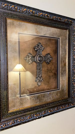 Christian metal cross (framed) for Sale in Laguna Beach, CA