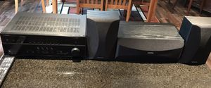 Yamaha RX-V473 Receiver and Onkyo center channel with bookend speakers for Sale in Leander, TX
