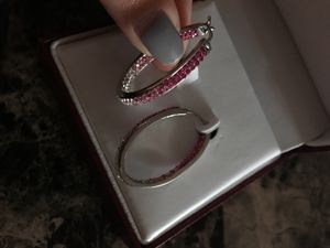 Helzberg Diamond Pink Stone Earrings for Sale in Philadelphia, PA