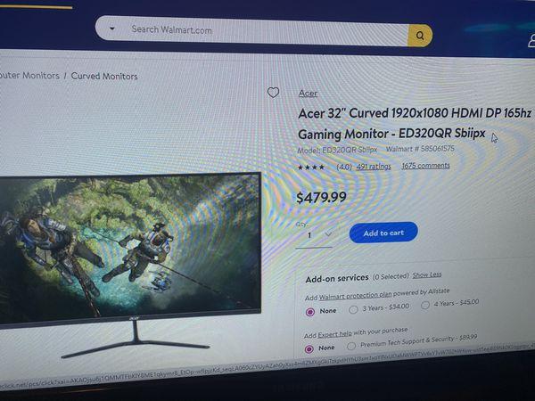 "Acer 165hz monitor 32"""