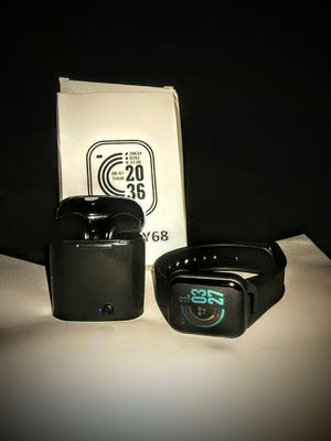Pair of black bluetooth wireless earbuds with bluetooth smartwatch. for Sale in Youngsville, NC