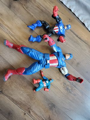 CAPTAIN AMERICA, SPIDER MAN ACTION FIGURES. for Sale in Victorville, CA