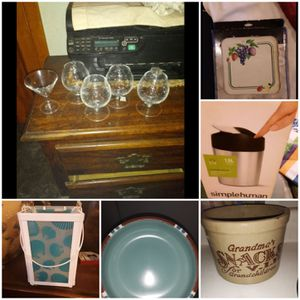 Household lot mini wine glasses burner covers trash cans bowls candle lanterns cookie jar for Sale in Springfield, OH