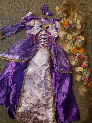Rapunzel costume with braid wig 3-4 toddler for Sale in Hemet, CA