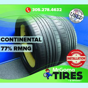 2 CONTINENTAL SPORTCONTACT 6 AO XL 285/40/22 USED TIRES 77% RMNG 110Y 2854022 for Sale in Miami, FL