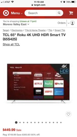 """TCL 65"""" Roku 4K Smart TV: New in Box for Sale in Moreno Valley, CA"""