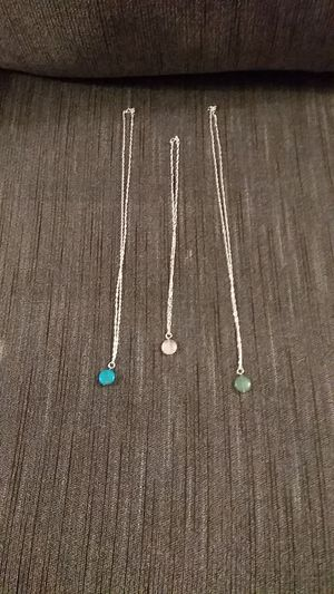 Set of three colors lime green turquoise & white silver necklaces for Sale in Apache Junction, AZ