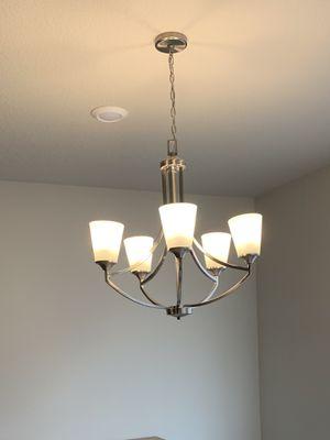 Brand new brushed nickel satin finish light fixture chandelier $50 obo for Sale in Beaverton, OR