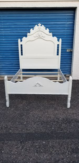 Full size distressed style bed frame. Off white color. for Sale in Phoenix, AZ