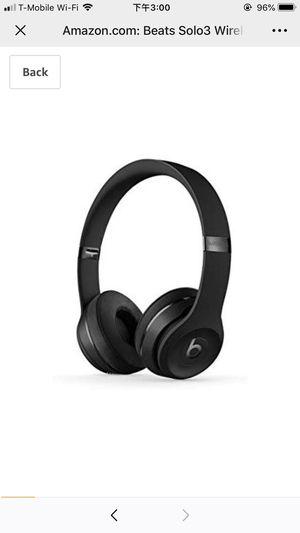 Beats Solo3 Wireless On-Ear Headphones - Matte Black for Sale in Philadelphia, PA