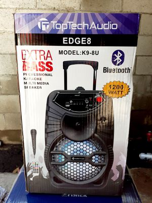 """8"""" Portable Bluetooth Speaker With Trolley And Wheels FM Radio/ Aux/ Micro SD/ USB/ Karaoke/ LED Lights 1200 Watts for Sale in Riverside, CA"""