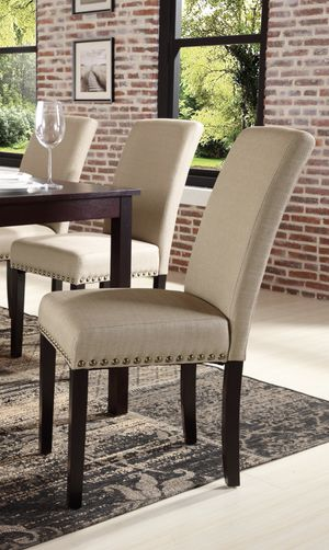 Like new set of 4 tan upholstered chairs w/ nailheads for Sale in MARTINS ADD, MD