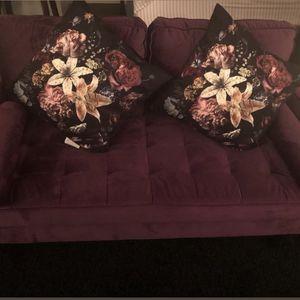 Slightly Used Purple Velvet Loveseat for Sale in Alexandria, VA