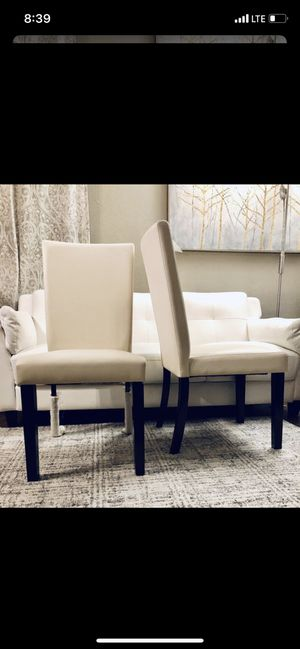 ⭐️New Corliving Atwood cream leatherette dining chair Set. P/U by ASHLAN AND TEMPERANCE IN CLOVIS for Sale in Clovis, CA