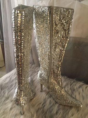 Silver Sequined knee high boots 6.5 for Sale in Carlsbad, CA