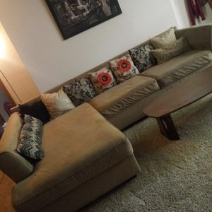 Tan suede sectional couch for Sale in Tulsa, OK