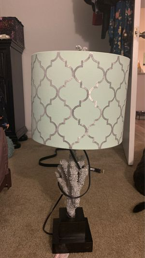 Lamp silver sparkly coral reef base and teal lamp shade. for Sale in Naples, FL