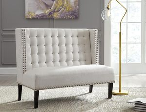 🌲Ashley Beauland Ivory Tufted Seat Back Accent Bench for Sale in Fairfax, VA