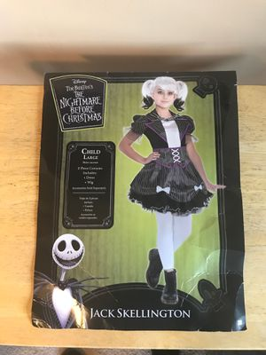 DISNEY THE NIGHTMARE BEFORE CHRISTMAS JACK SKELLINGTON COSTUME GREAT FOR BIRTHDAY OR DRESS UP KIDS SIZE LARGE for Sale in Rialto, CA