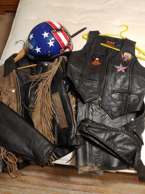 Leather motorcycle jacket, chaps, vest and helmut for Sale in Cumming, GA
